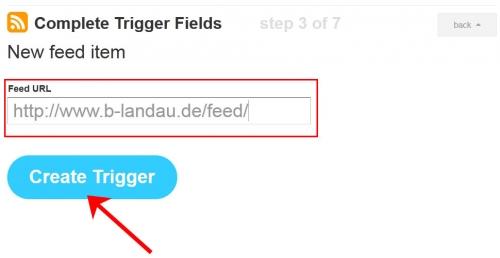 ifttt - Feed-URL eingeben