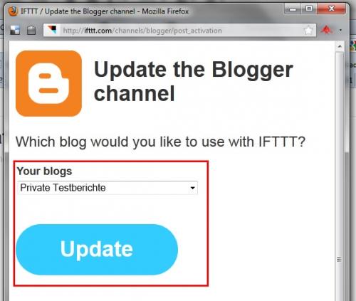 ifttt - Blog auswählen