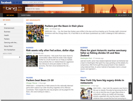My Bing News on Facebook