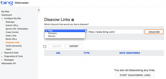 Disavow Links in den Bing Webmaster Tools