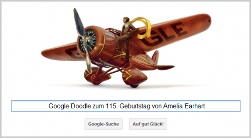 Google Doodle für Amelia Earhart