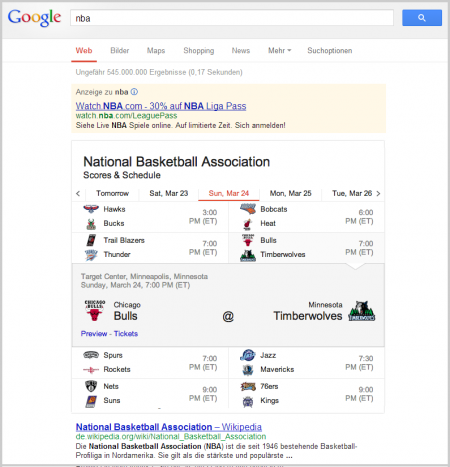 Neue Ergebnisse bei der Suche nach NBA