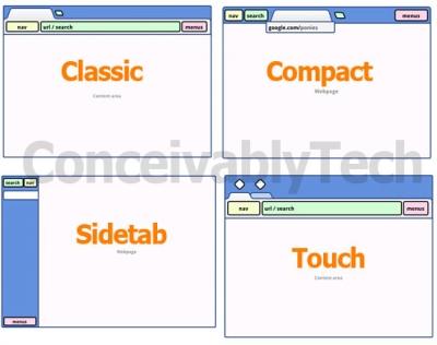 Designvarianten von Google Chrome