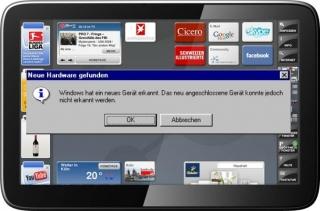 WePad mit Windows Fehlermeldung