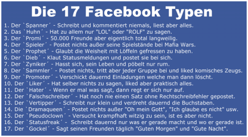 Die 17 Facebook Typen