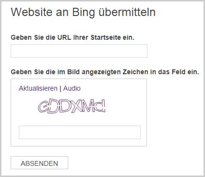 Webseite bei Bing eintragen