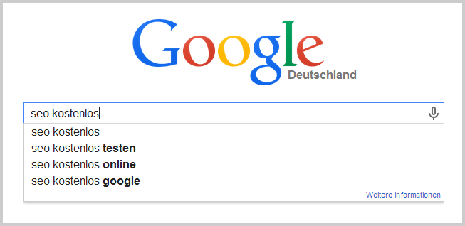 Google Suggest bei SEO kostenlos
