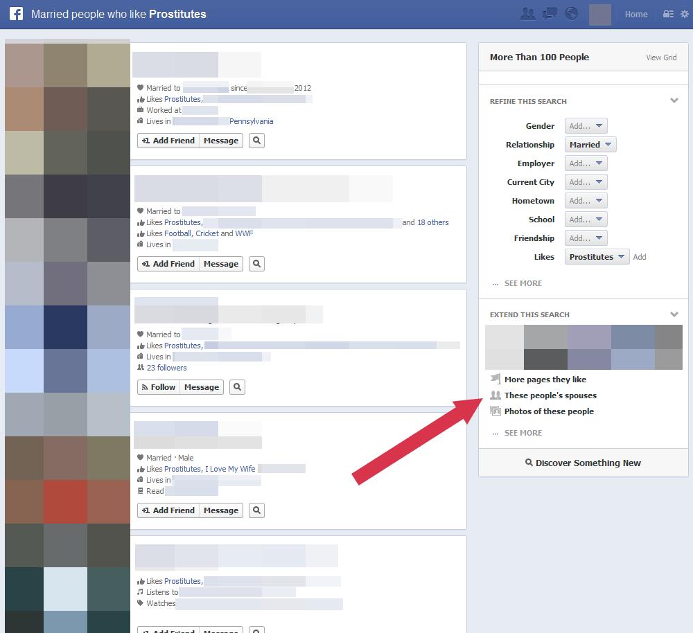Facebook-Suche am Beispiel Prostitutes