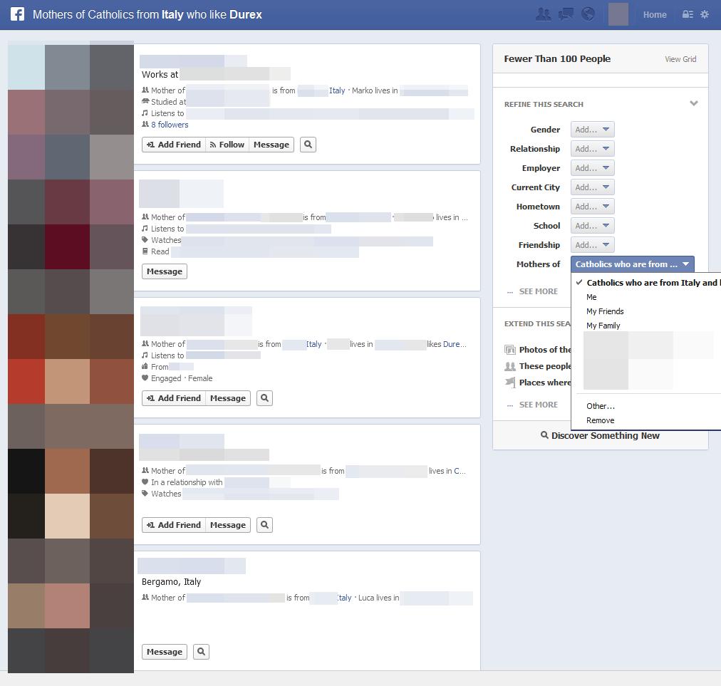 Facebook-Suche am Beispiel Catholics