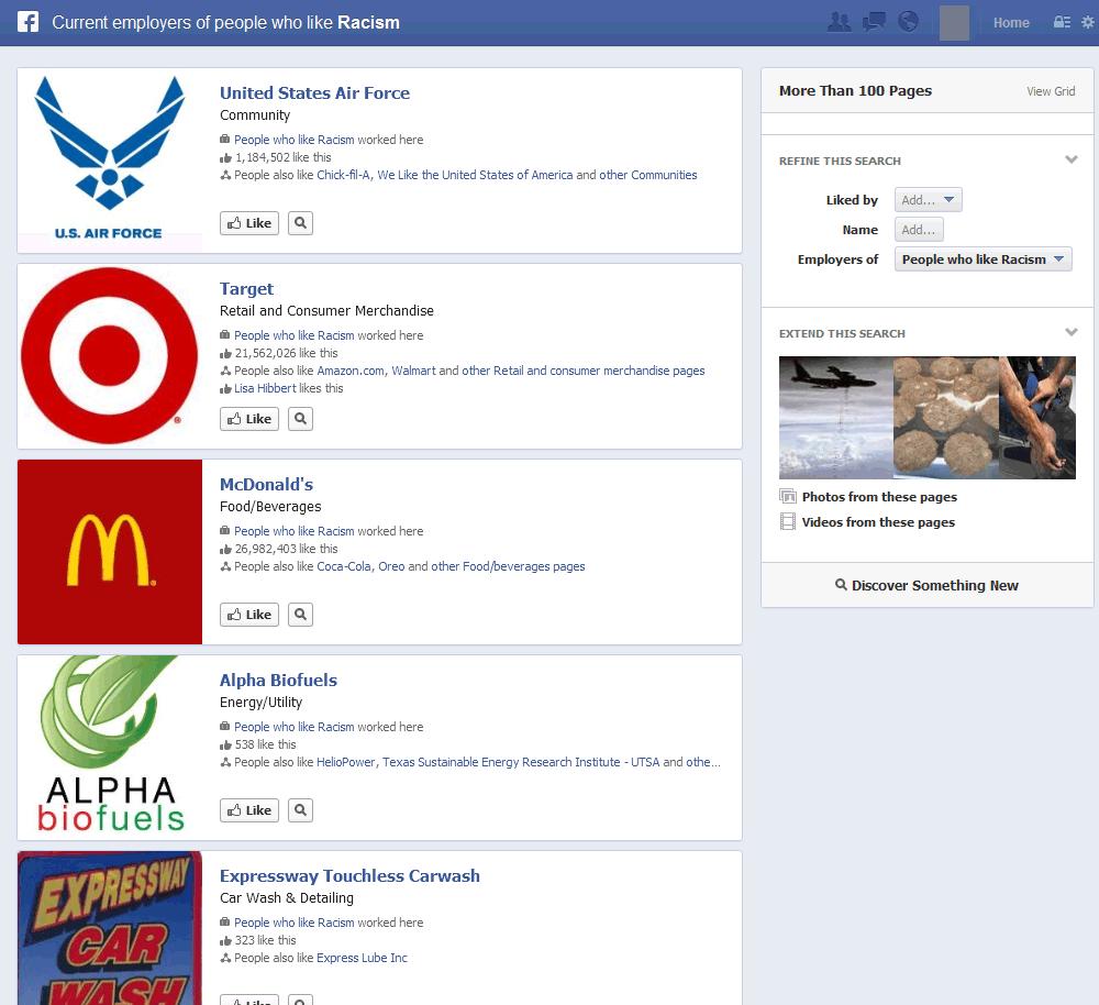 Facebook-Suche am Beispiel Racism