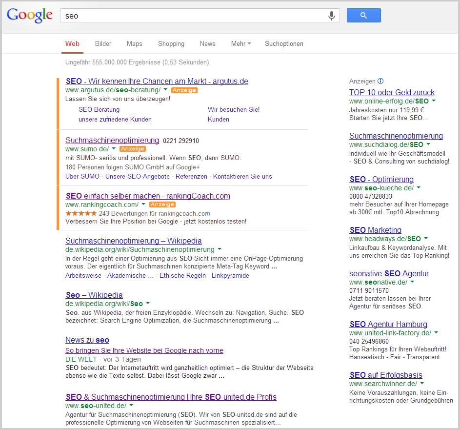 Google AdWords Anzeigen