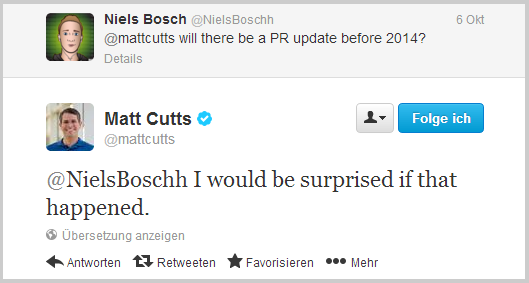 Matt Cutts zum Thema PageRank Update