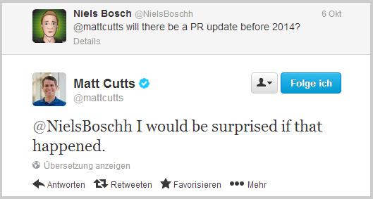 Matt Cutts zum Thema PageRank Update