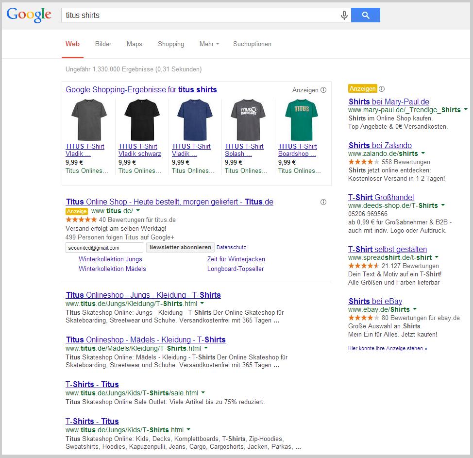 Produktanzeigen bei Google