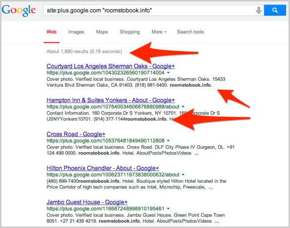 Suche nach gehijackten Google+ Local Einträgen