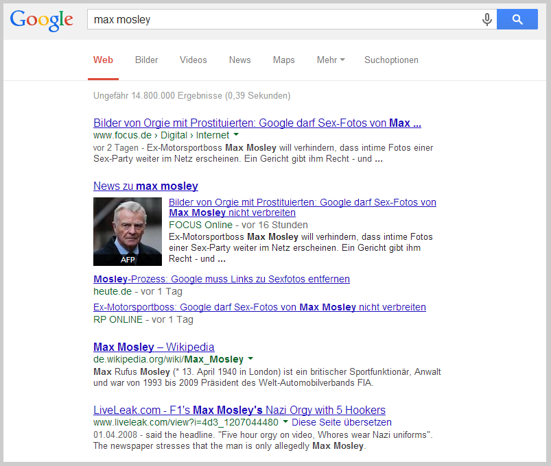 Max Mosley bei Google