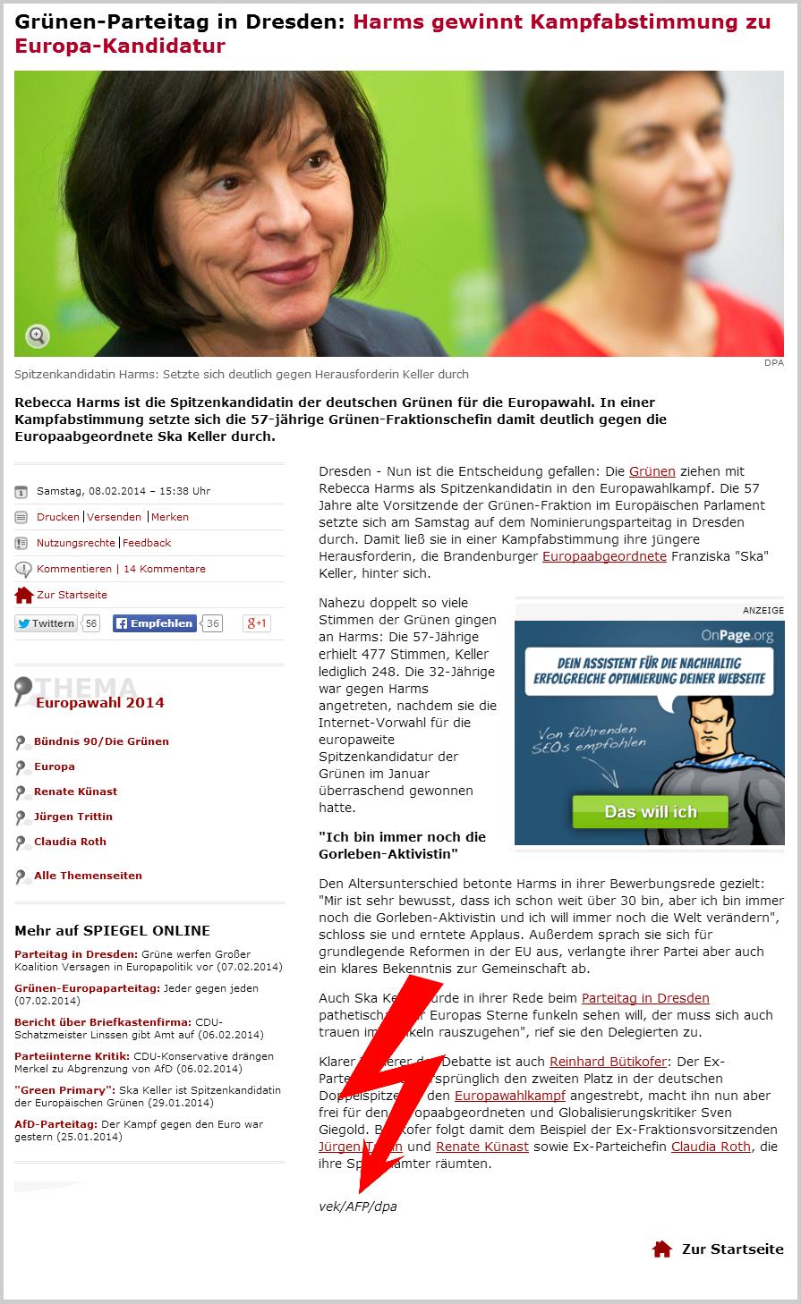 Artikel der Webseite spiegel.de