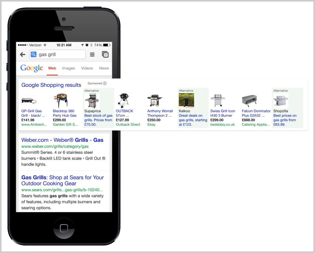 Alternativen bei Google Shopping für mobile Endgeräte