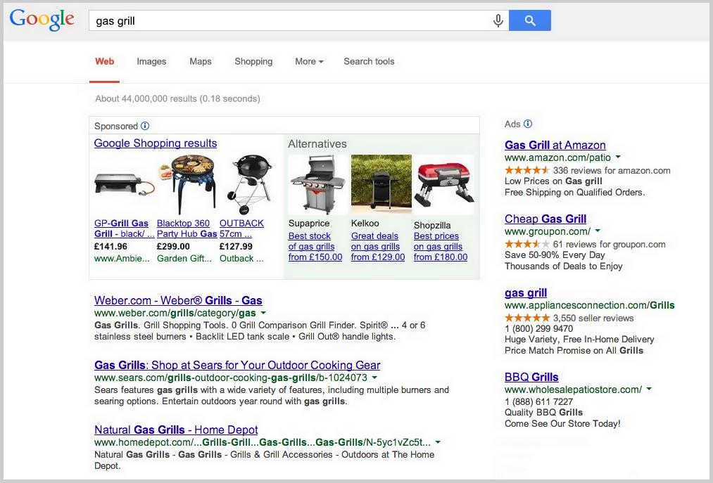 Alternativen bei Google Shopping
