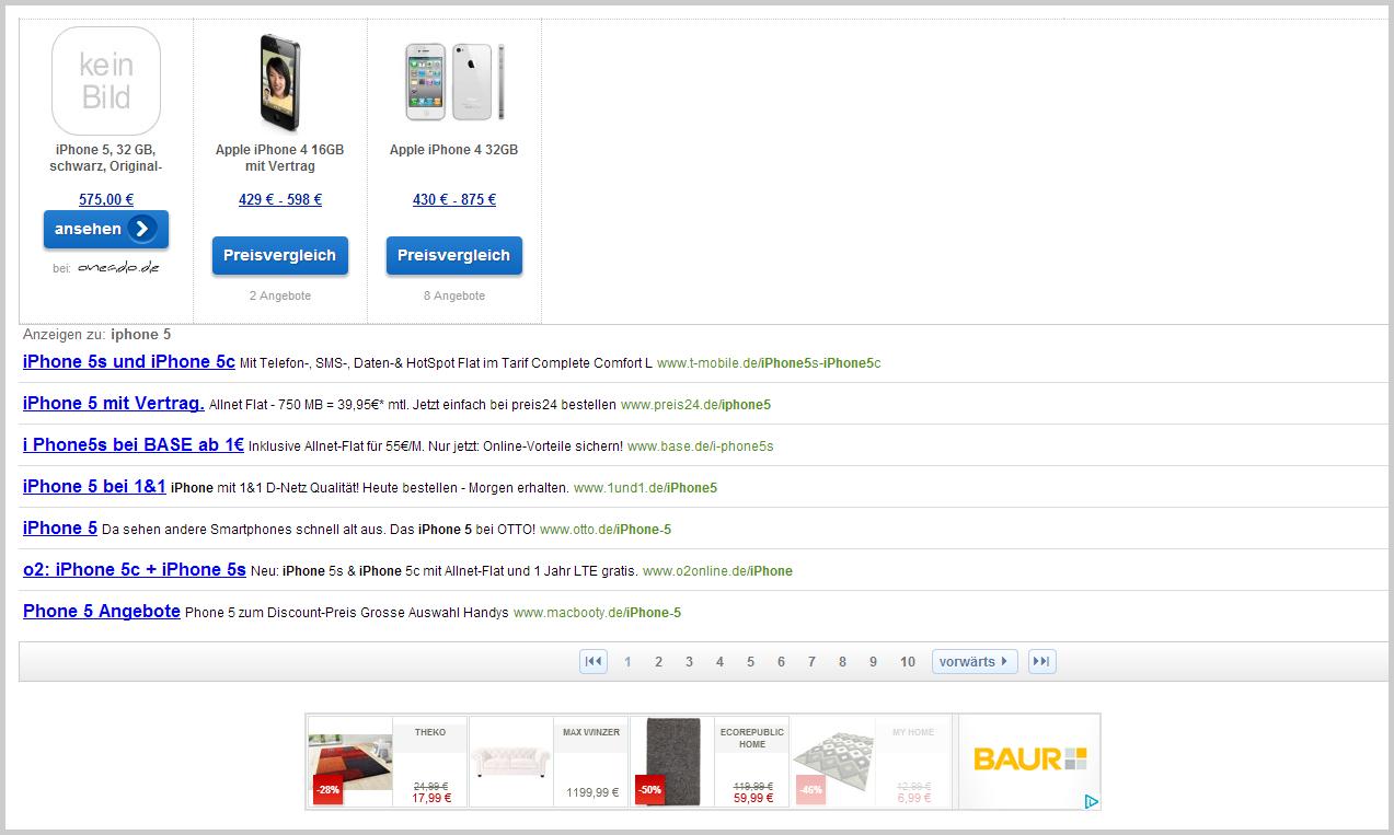 Google-Werbung bei Preisvergleichsseiten
