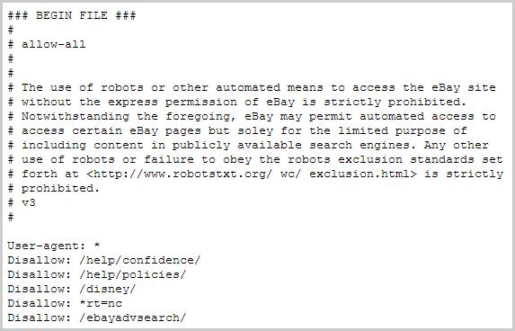 robots.txt Datei von ebay