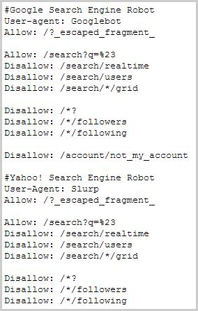 robots.txt Datei von Twitter