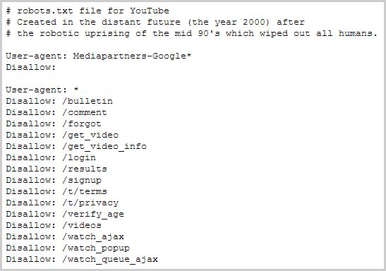 robots.txt Datei von YouTube