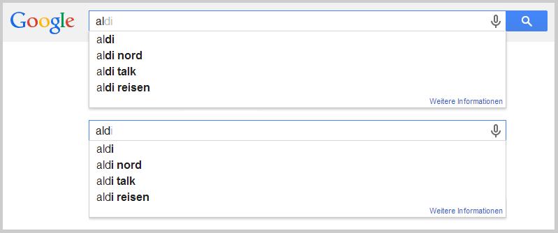 Aldi bei Google
