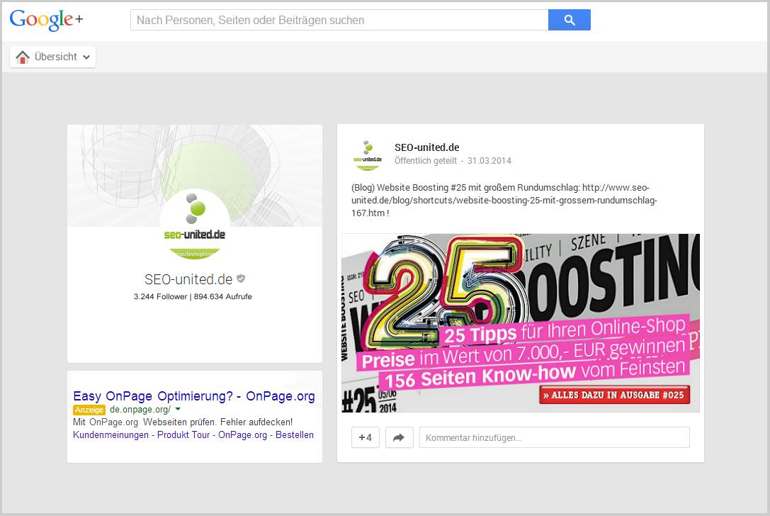 Werbung bei Google+