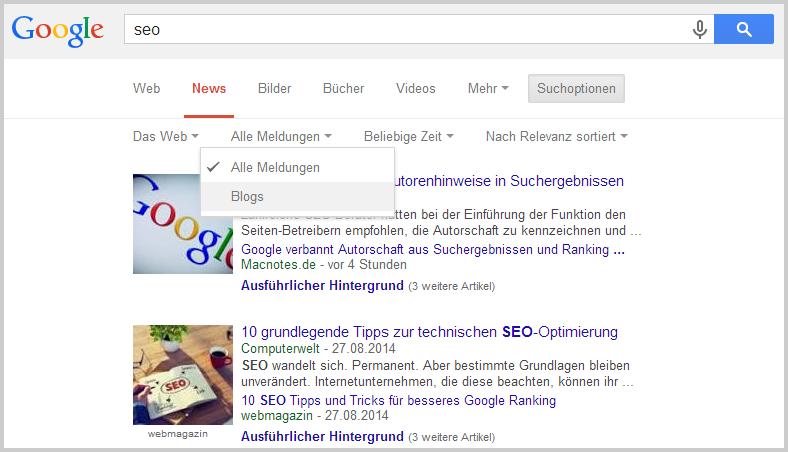 Suche nach Weblogs bei Google