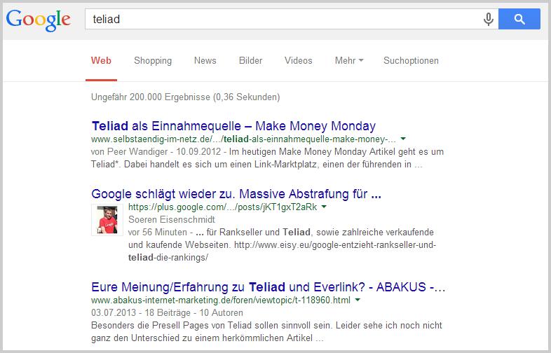 Google-Suche nach teliad
