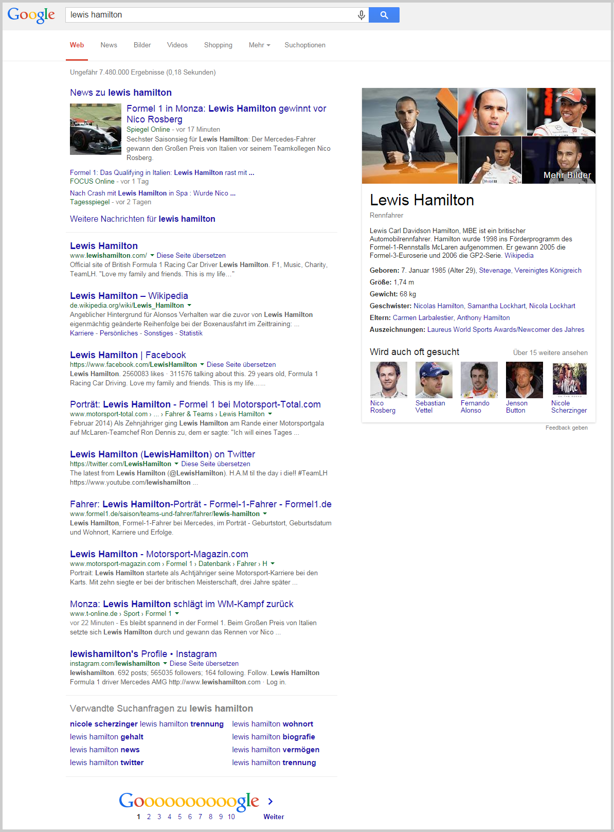Beispiel eines Suchergebnisses bei Google