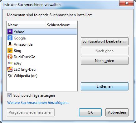 Firefox als Standardsuchmaschine festlegen