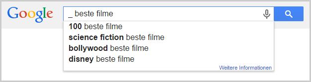 Google Suggest mit Wildcard zum Thema Filme