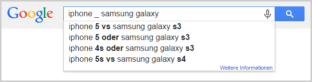 Google Suggest mit Wildcard zum Thema iPhone