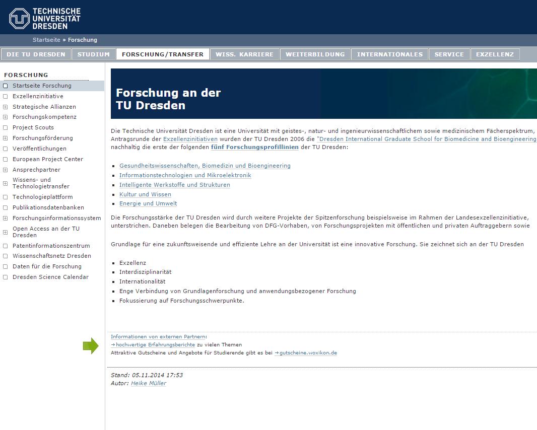Gekaufte Links auf der Webseite der TU Dresden