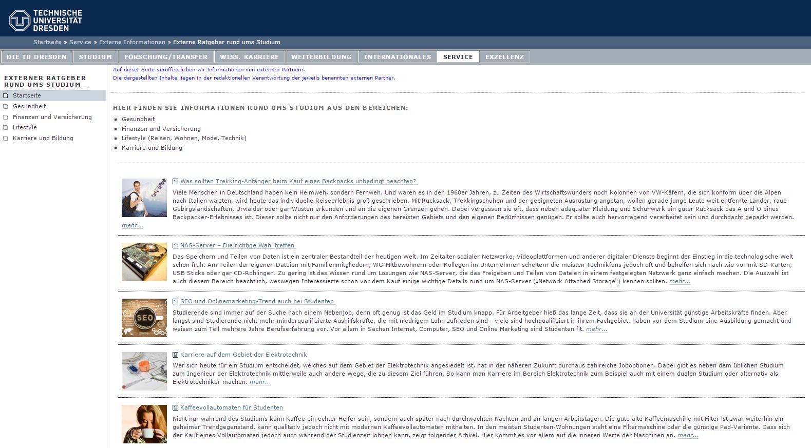 Artikelverzeichnis auf der Webseite der TU Dresden