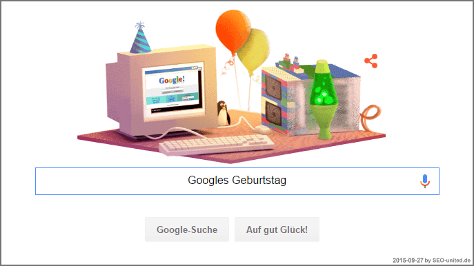 Google Doodle anlässlich des 17. Geburtstags von Google