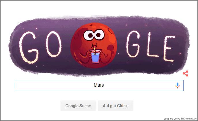 Google Doodle anlässlich des erstmaligem Nachweises von Wasser auf dem Mars