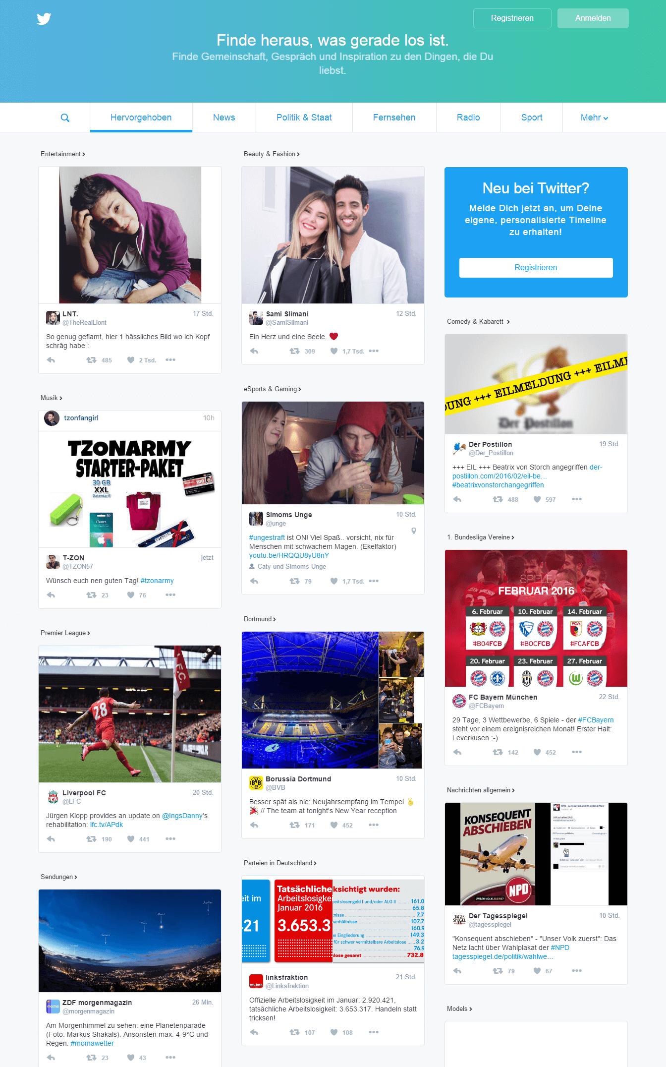 Twitters neue Startseite