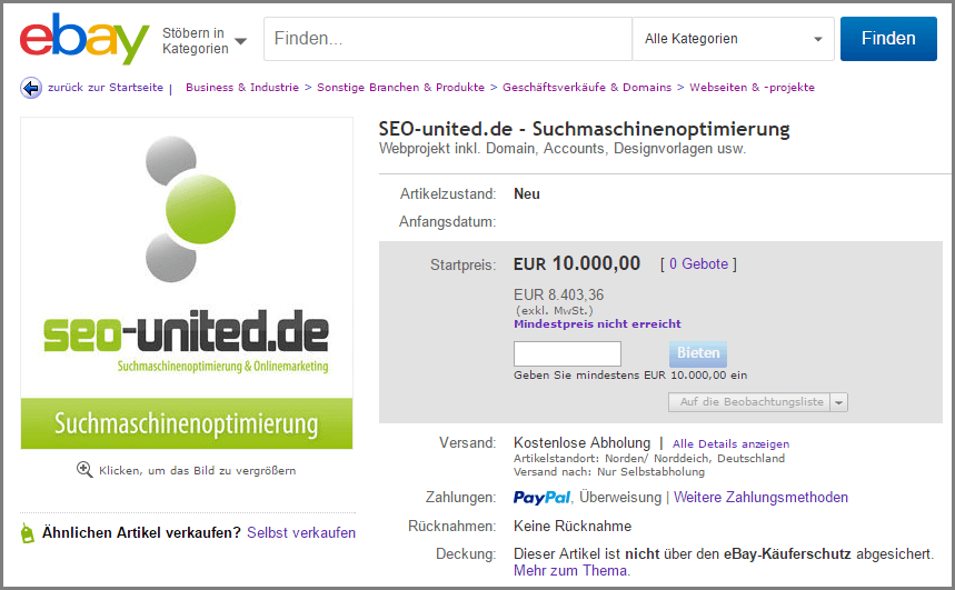 Screenshot der eBay Auktion