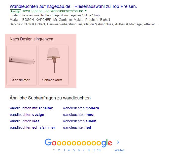 Google Eingrenzen nach Design