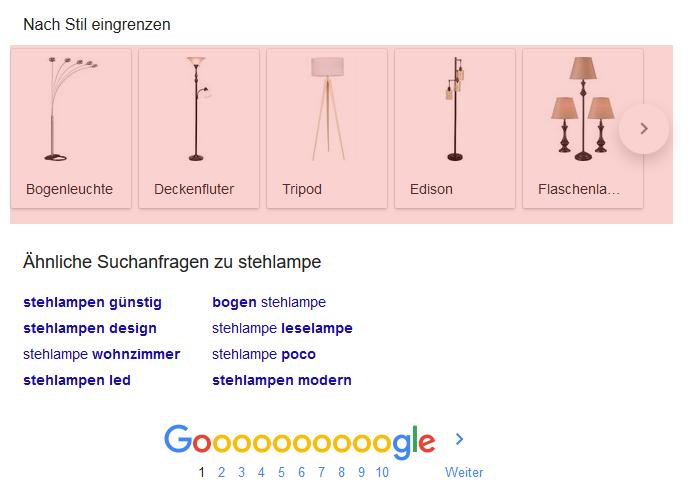 Eingrezen nach Stil Google