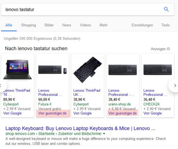 neue Google Shopping Suche