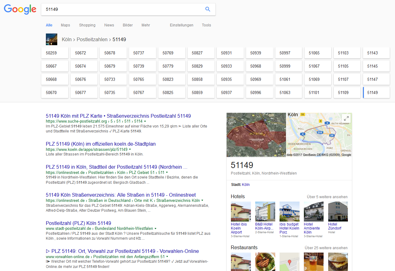 Google Postleitzahlensuche