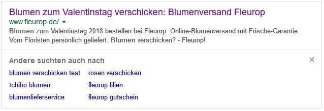 Google SERP andere suchten auch blume2000