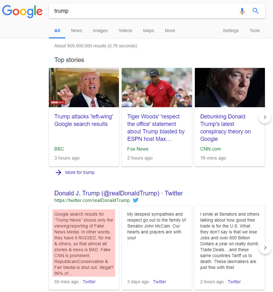 Google Trump News Tweet