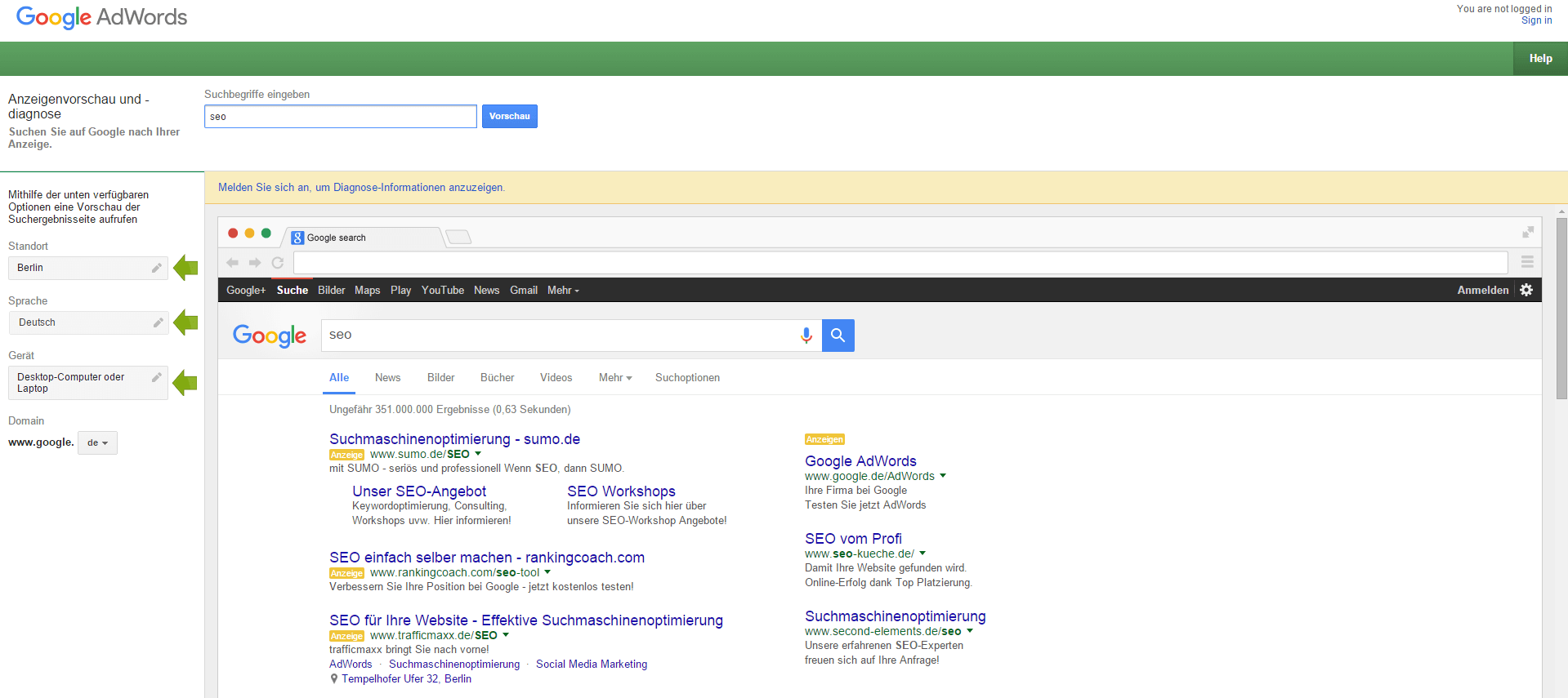 Google AdWords Anzeigenvorschau und -diagnose Tool