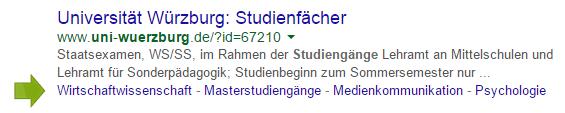 Horizontale Sitelinks einer Unterseite von uni-wuerzburg.de