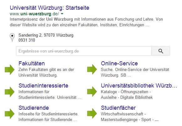 Sitelinks der Seite uni-wuerzburg.de